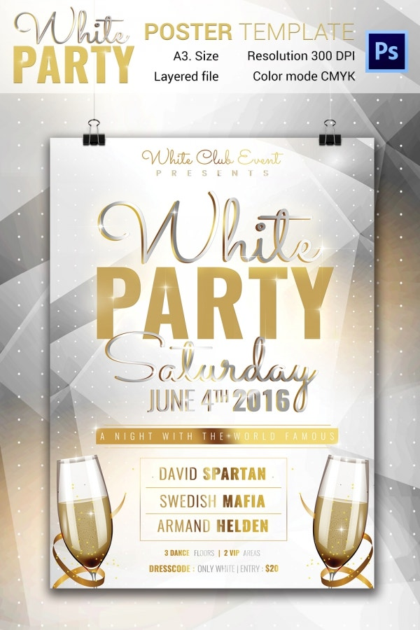 White Party Poster Template