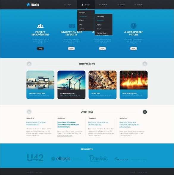 technology engineering website template