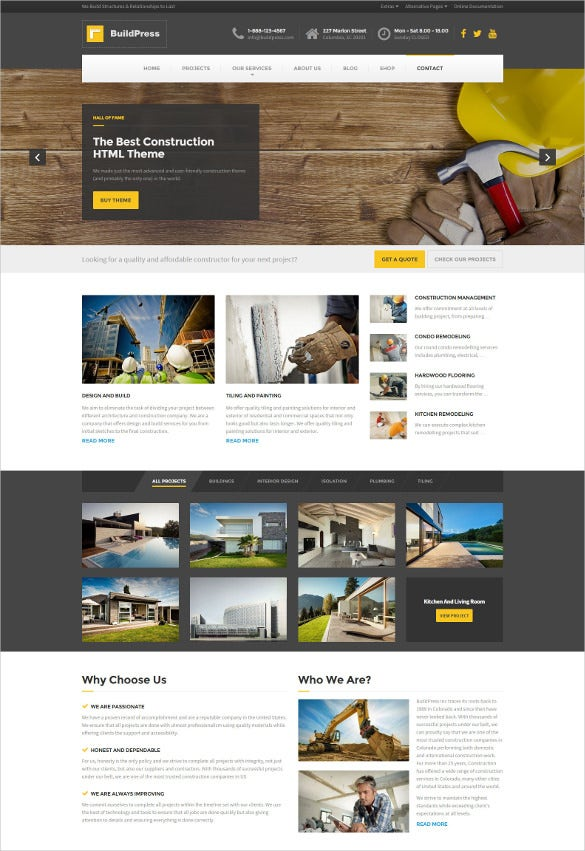 construction business html website template