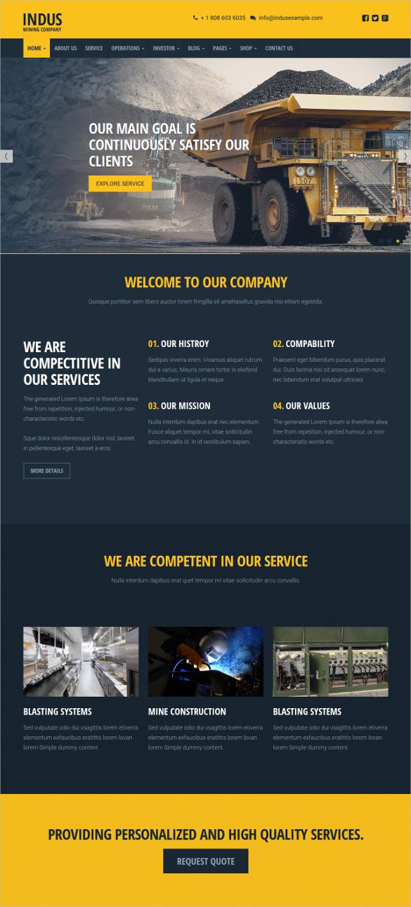 industrial wordpress responsive website theme