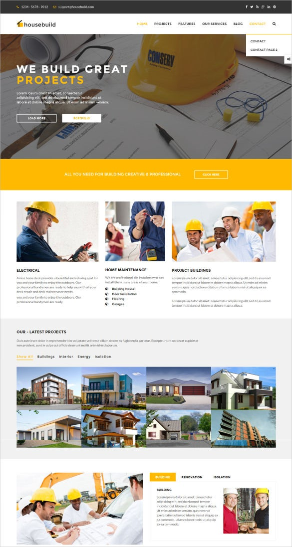 html construction business website template