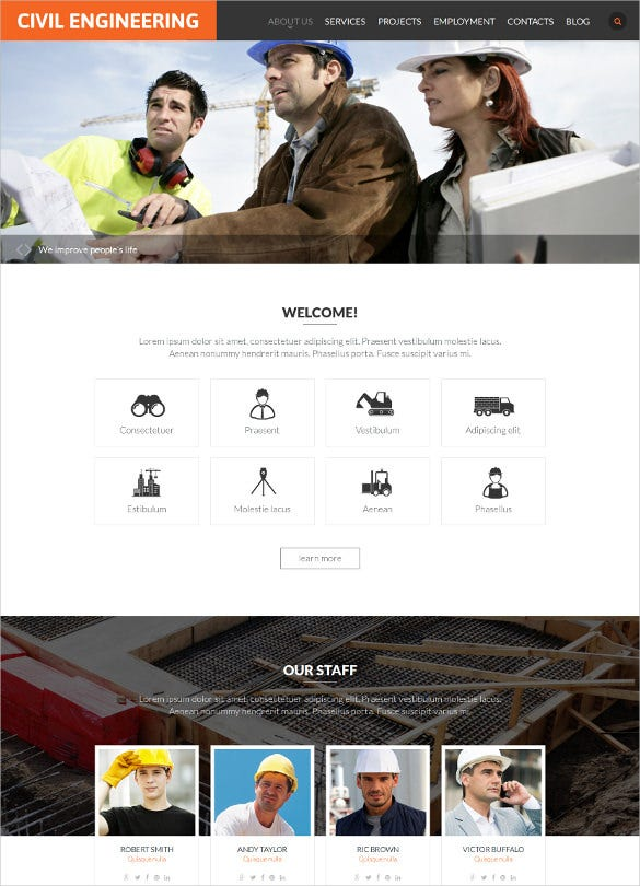 responsive civil engineering website template
