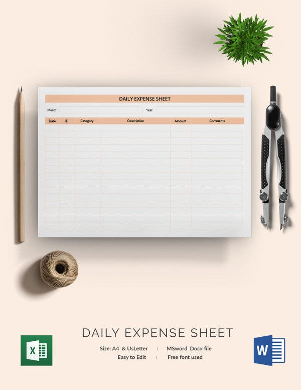 expense sheet template