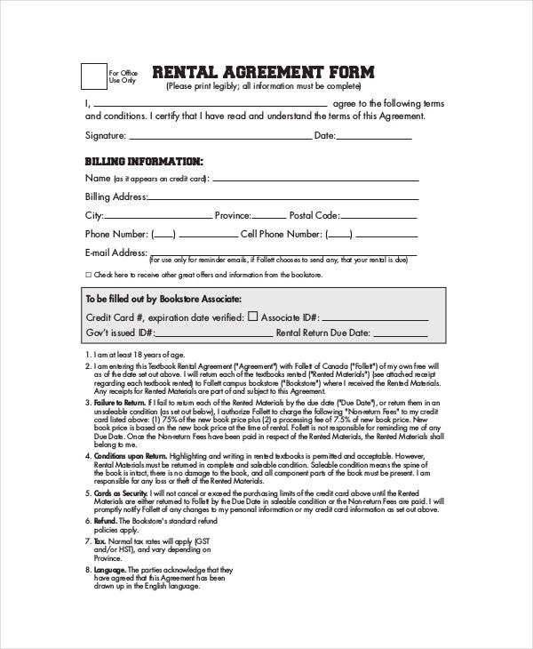 Simple Basic Rental Agreement Form