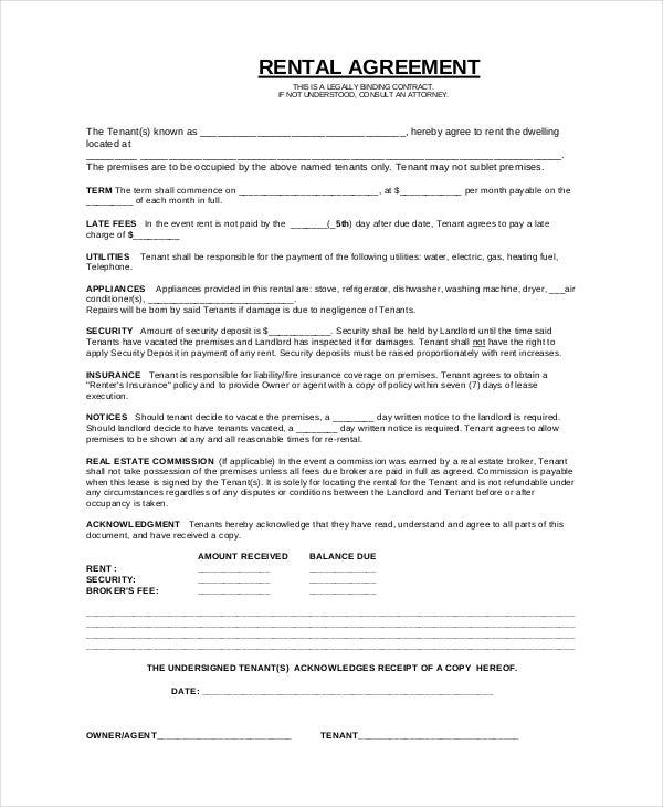 Simple Rental Agreement 33 Examples In PDF Word