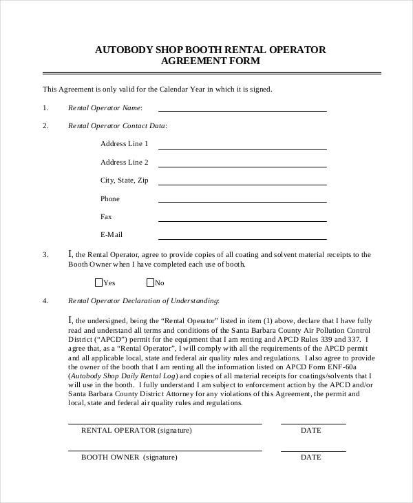 Simple Rental Agreement 33 Examples in PDF Word – Booth Rental Agreement