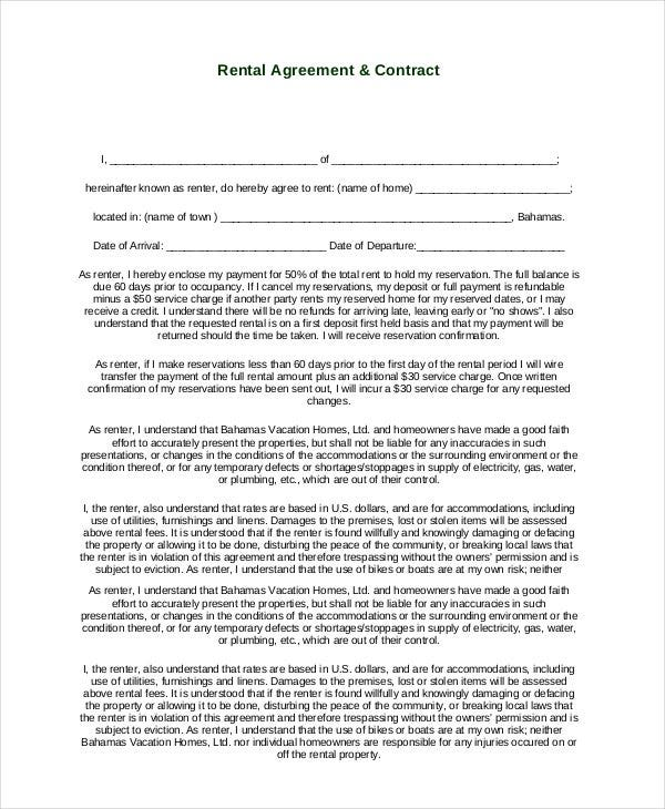 Free Basic Rental Agreement Contract  Free Copy Of Lease Agreement