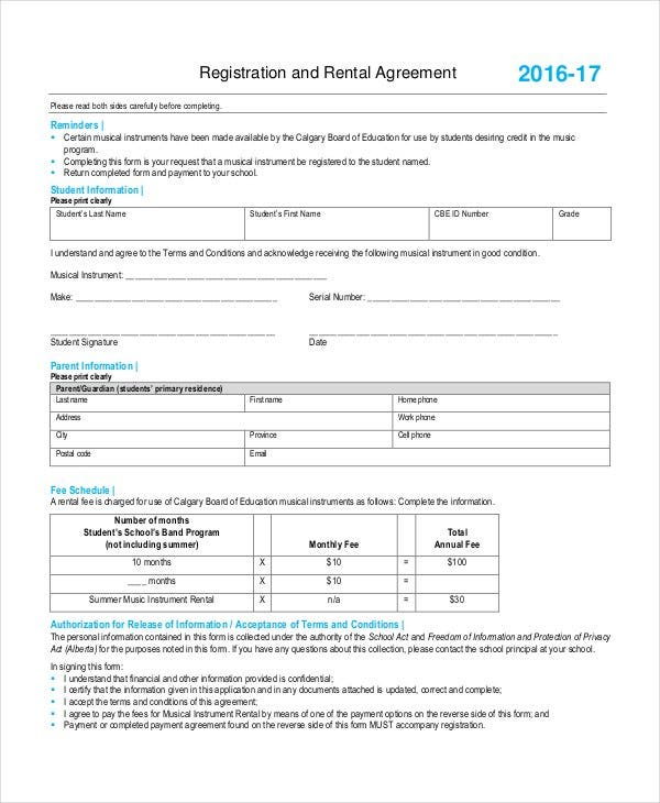 example of registered rental agreement