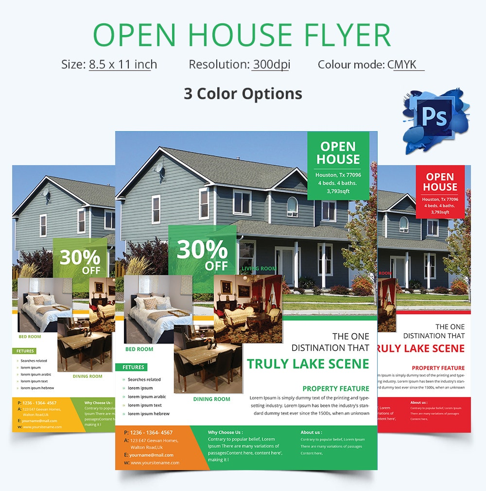 Open house flyer template 30 free psd format download for Open house brochure template