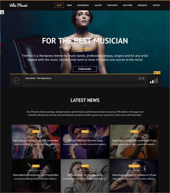 fully responsive singers wordpress theme