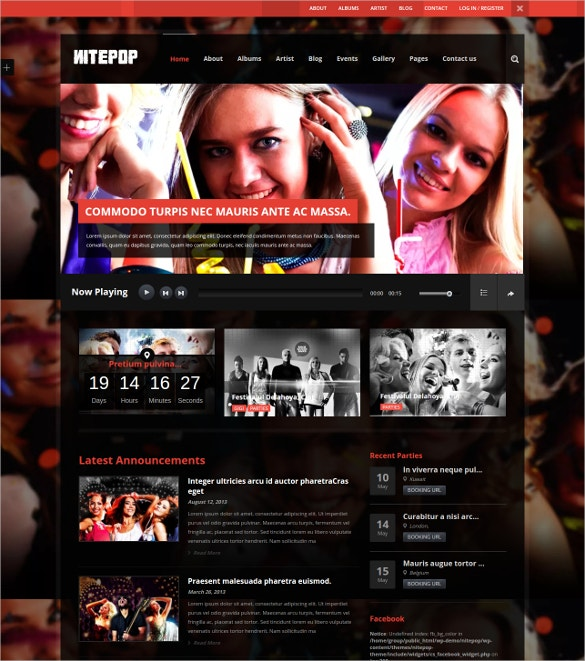 pop music singers wp template