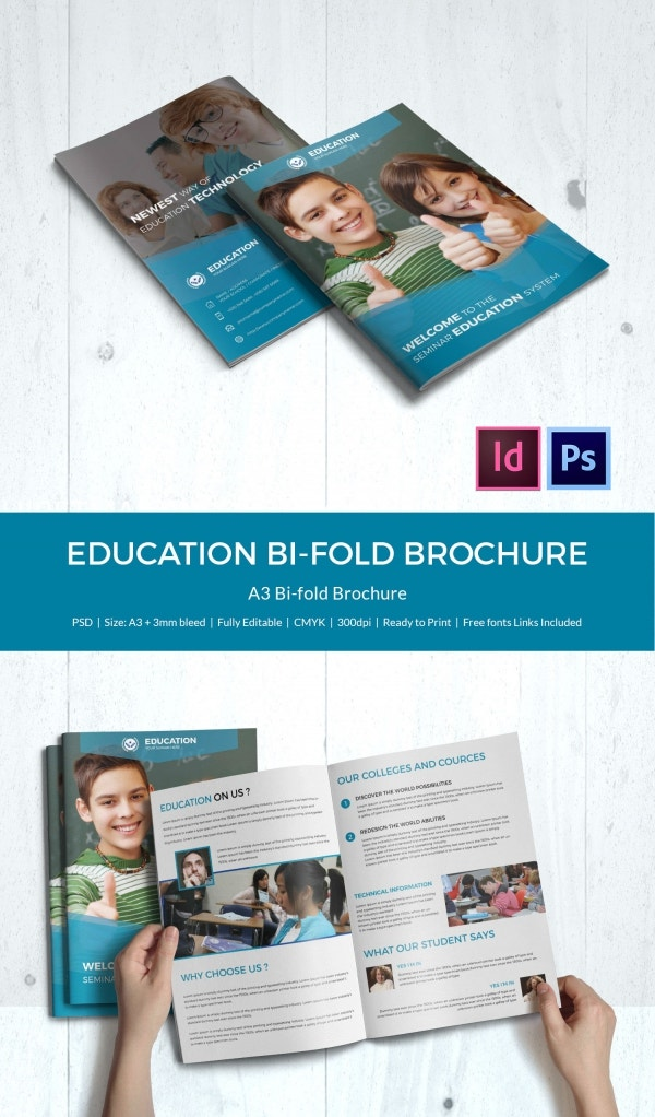 Education brochure template 43 free psd eps indesign for Indesign bi fold brochure template