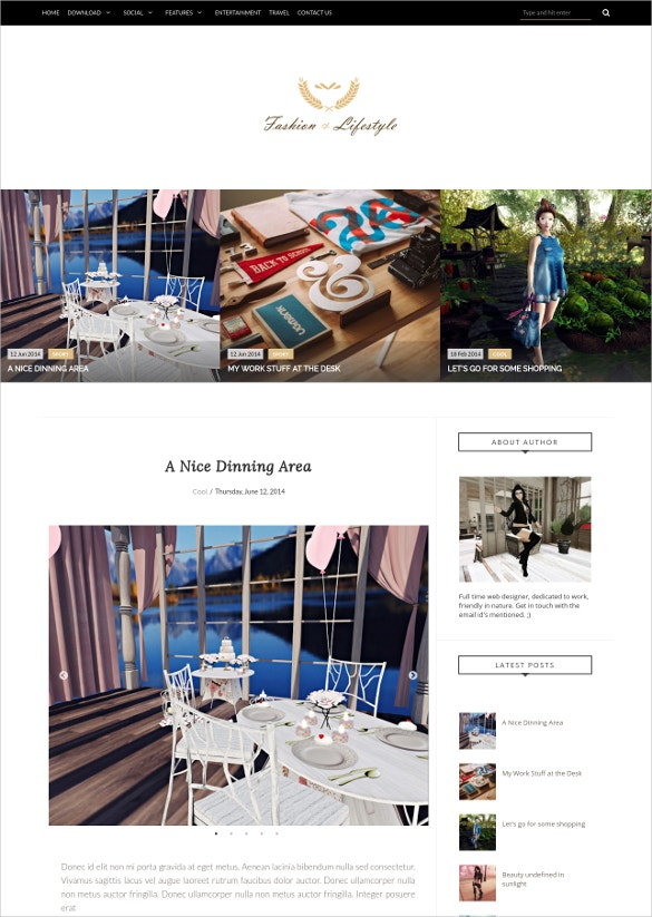 Fashion Life Style Responsive Blogger Template