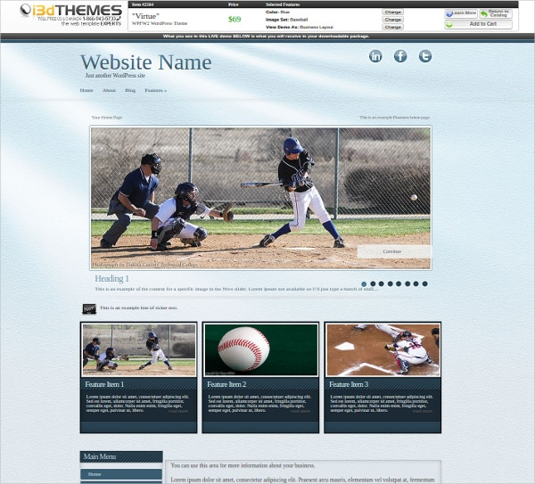 Ultraviolet Baseball WordPress Theme