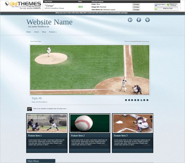 Virtue Baseball WordPress Theme