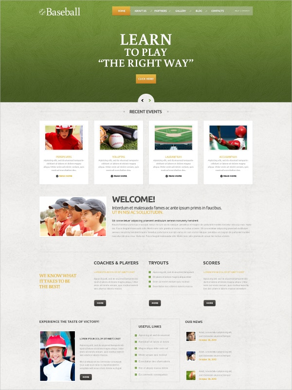 Baseball Responsive WordPress Template