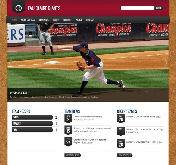 Base Ball Club WordPress Template