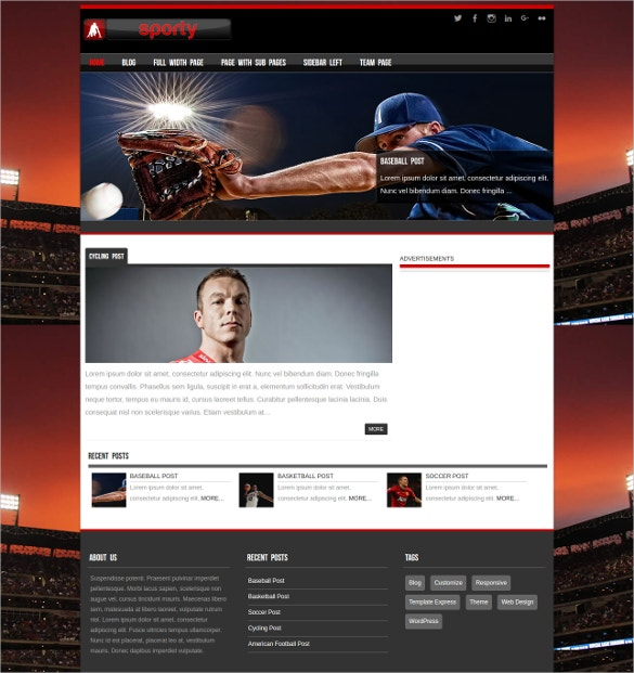 Fully Responsive Base Ball WordPress Theme
