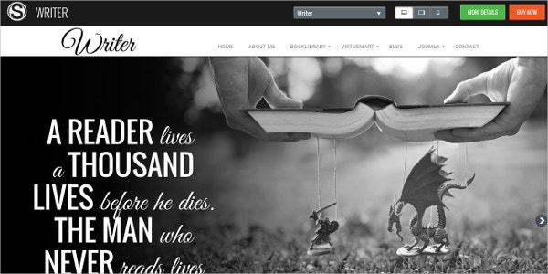 Author Writer Responsive Joomla Template