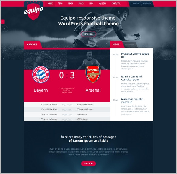Responsive FootBall WordPress Theme