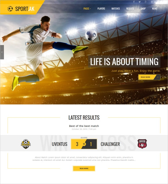 Football Sport WordPress Theme