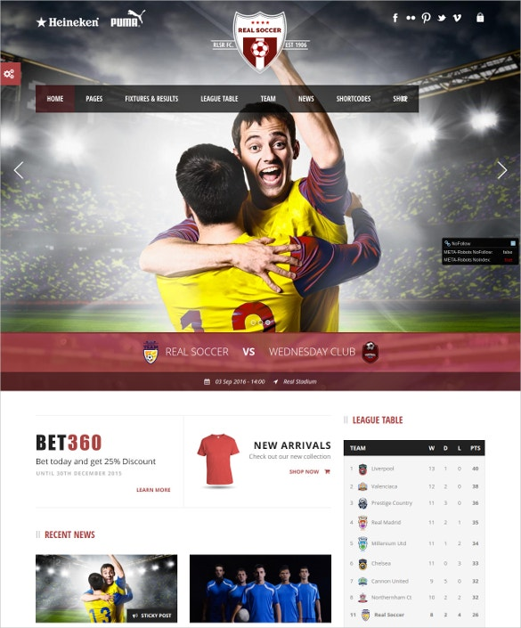 Foot Ball Club Responsive WP Theme