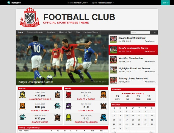Responsive Football Club WordPress Theme