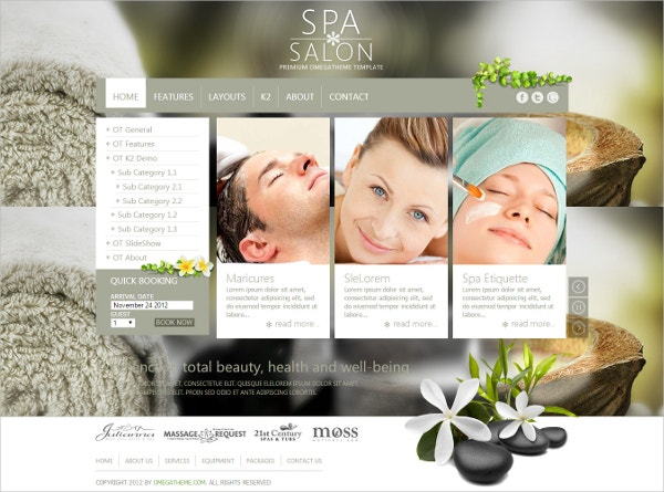 free spa salon joomla template