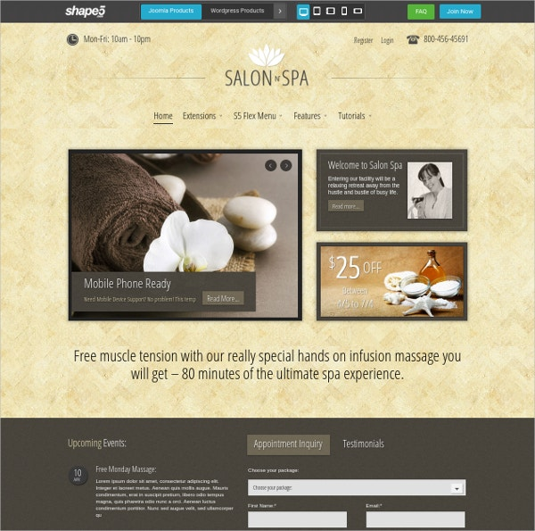 salon spa joomla club template