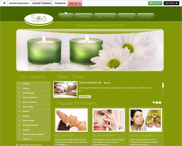Premium Joomla Beauty Salon Spa Template