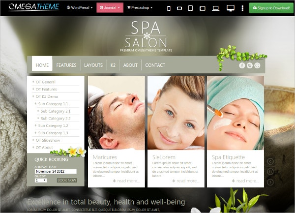 Free Spa Salon Business Joomla Template
