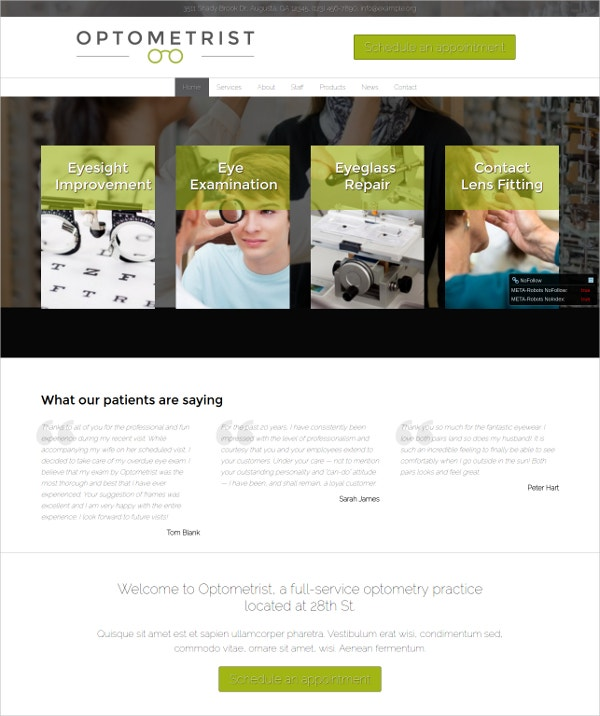 The Optometrist WordPress Theme