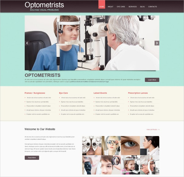 Responsive Optometrist's WordPress Theme