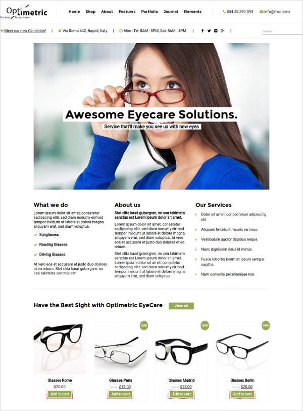 Modern Optometrist WordPress Theme