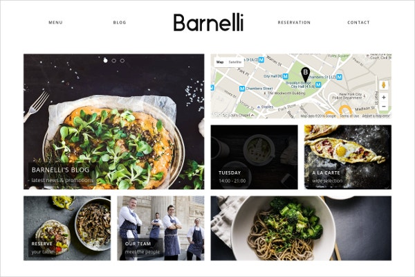 responsive restaurants cafes wordpress template