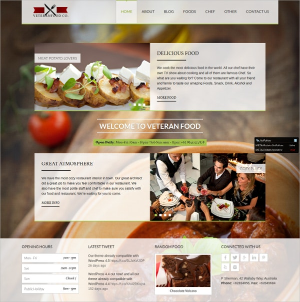 Veteranfood Chef WordPress Theme