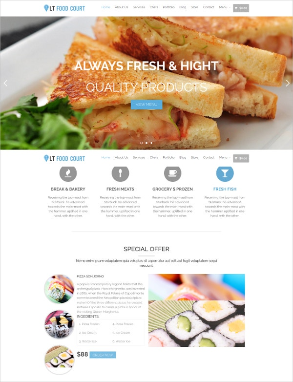food court chef wordpress theme