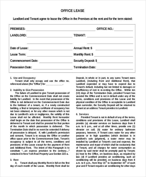 Simple Lease Agreement Printable Sample Lease Agreement Form