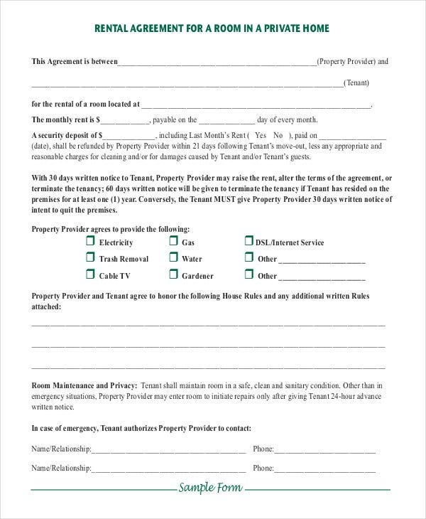 simple room rental agreement in private home pdf d