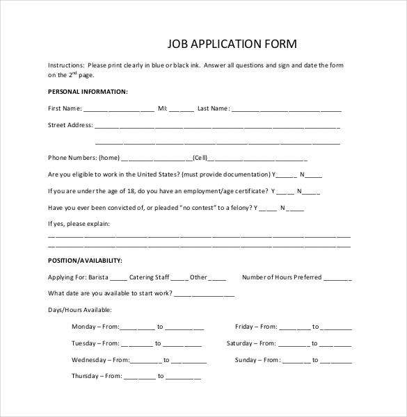Job Application Template - 18+ Examples In Pdf, Word | Free