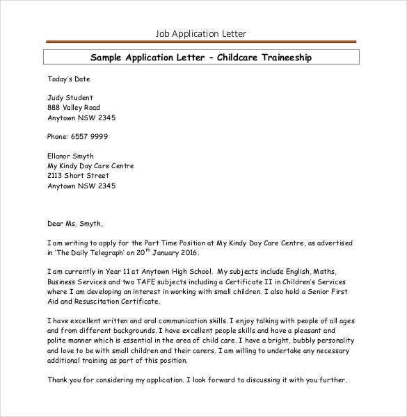 simple job application letter in pdf