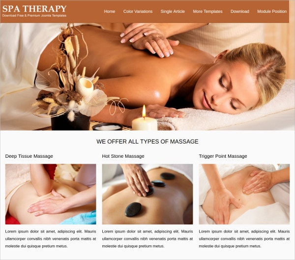 free responsive spa massage therapy joomla template