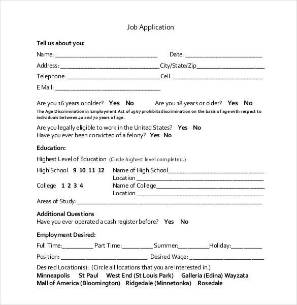 basic job application printable