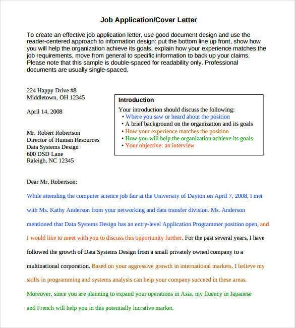 cover letter template for job application pdf
