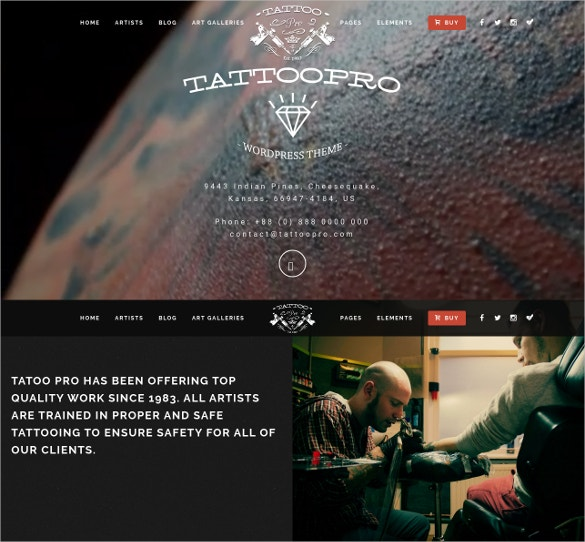 Pro Tattoo Shop WordPress Theme