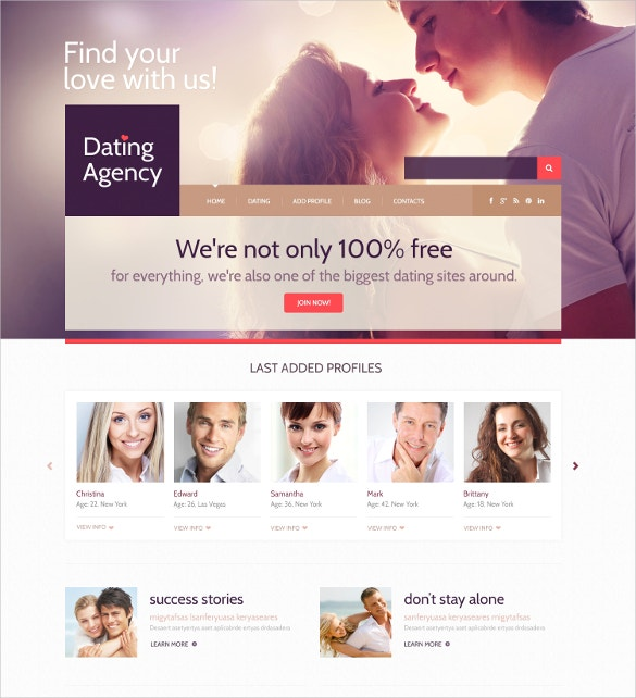 Responsive Dating Agency WordPress Theme