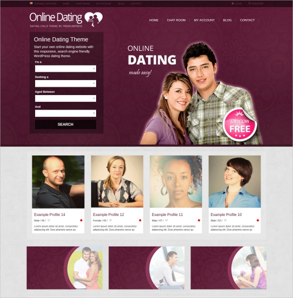 Online Dating WordPress Template