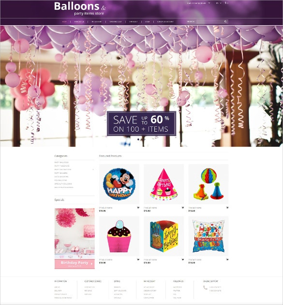 Party Stuff OpenCart Template