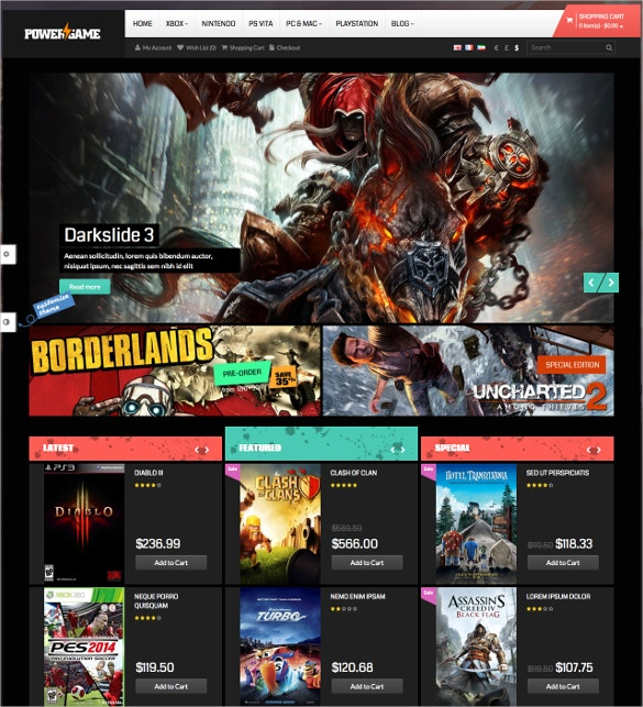 Responsive Opencart Entertainment Gameing Theme