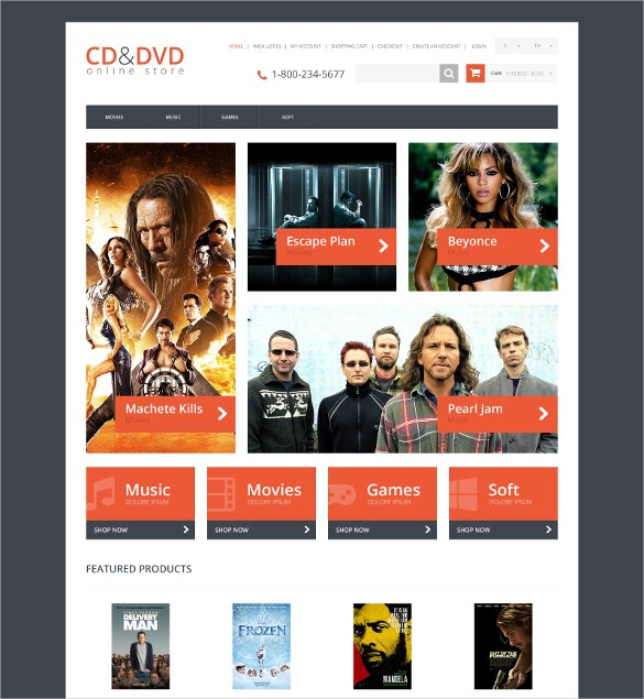 Responsive Entertainment OpenCart Template